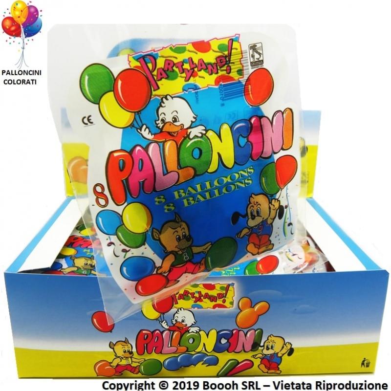 PALLONCINI GRANDI PER COMPLEANNI, FESTE E PARTY | BLISTER DA 8 PALLONI MONOCROMATICI COLORI ASSORTITI 0,99€
