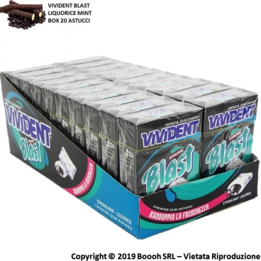 VIVIDENT BLAST LIQUIRIZIA STRONG CHEWING GUM - BOX DA 20 ASTUCCI