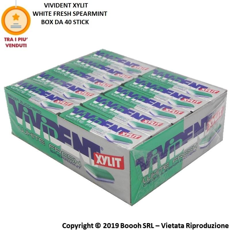 VIVIDENT XYLIT WHITE FRESH SPEARMINT CHEWING GUM - CONFEZIONE DA 40 STICK 0,89€