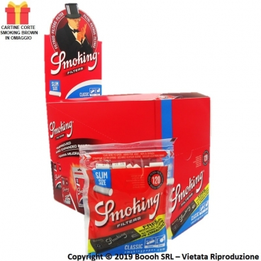 SMOKING FILTRINI SLIM 6MM + CARTINE CORTE BROWN UBLEACHET OMAGGIO - BOX DA 30 BUSTINE DA 120 FILTRINI