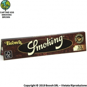 CARTINE SMOKING BROWN KING SIZE SLIM SENZA CLORO LUNGHE - LIBRETTO DA 33 FOGLIETTI