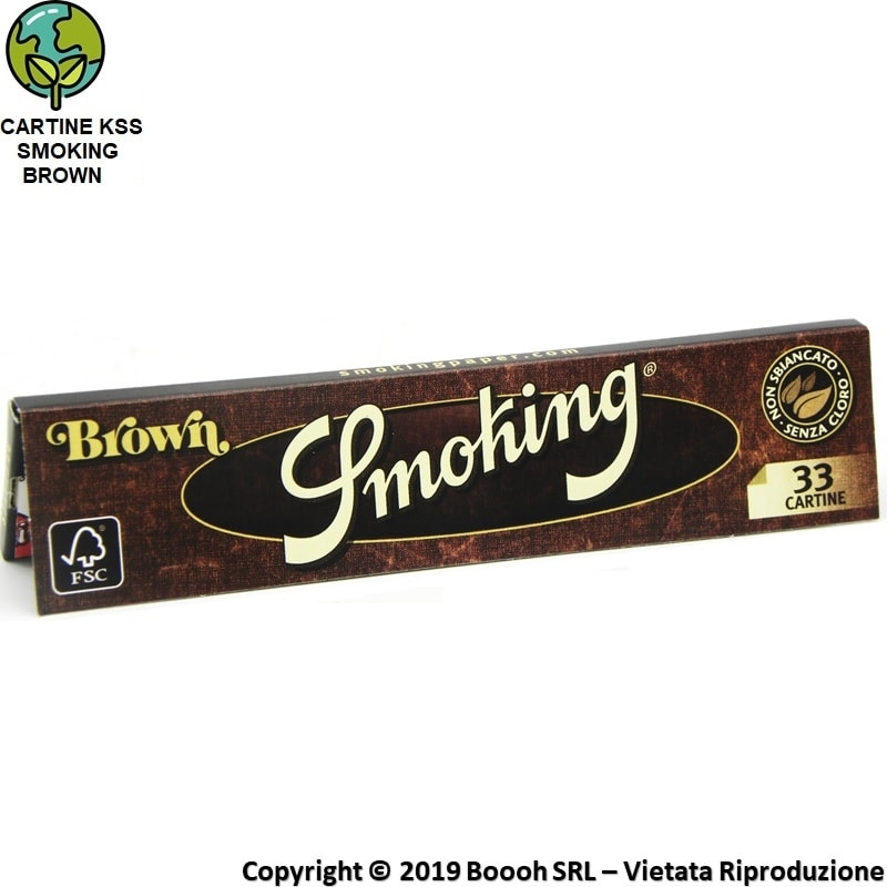 CARTINE SMOKING BROWN KING SIZE SLIM SENZA CLORO LUNGHE - LIBRETTO DA 33 FOGLIETTI 0,69 €