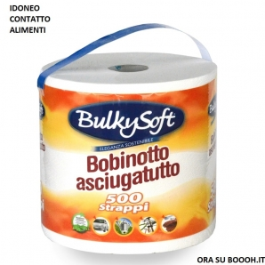 BULKYSOFT BOBINA CARTA CUCINA ASCIUGATUTTO MULTIUSO IDONEO CONTATTO CON ALIMENTI - 1 ROTOLONE 500 STRAPPI 2 VELI 3,60€