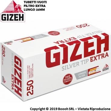 GIZEH TUBETTI EXTRA SILVER TIP CON FILTRO EXTRA LUNGO - CONFEZIONE DA 250 SIGARETTE VUOTE