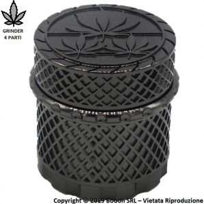 GRINDER BLACK WEED LAVORATO A MANO - TRITATABACCO METALLICO CON CHIUSURE MAGNETICHE 4 PARTI 8,59€