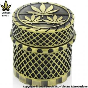 GRINDER GOLD WEED LAVORATO A MANO - TRITATABACCO METALLICO CON CHIUSURE MAGNETICHE 4 PARTI 8,59€