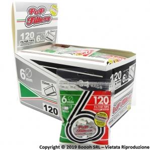 FILTRI SLIM POP FILTER 6mm LISCI BAG DA 120 FILTRINI + 50 CARTINE CORTE SILVER OMAGGIO - CONFEZIONE DA 34 BUSTINE 60,89€
