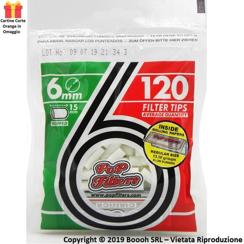 FILTRI SLIM POP FILTER 6mm LISCI BAG DA 120 FILTRINI + 50 CARTINE CORTE SILVER OMAGGIO - BUSTINE SFUSE 0,69€