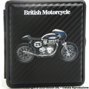 PORTA SIGARETTE IN METALLO BRITISH MOTORCYCLE BLU N.378 E SUPERFICIE CARBON LOOK - IDEA REGALO PER FUMATORI 12,47 €