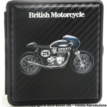 PORTA SIGARETTE IN METALLO BRITISH MOTORCYCLE BLU N.378 E SUPERFICIE CARBON LOOK - IDEA REGALO PER FUMATORI