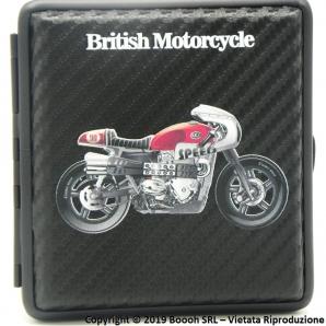 PORTA SIGARETTE IN METALLO BRITISH MOTORCYCLE ROSSA N.90 E SUPERFICIE CARBON LOOK - IDEA REGALO PER FUMATORI 12,47€