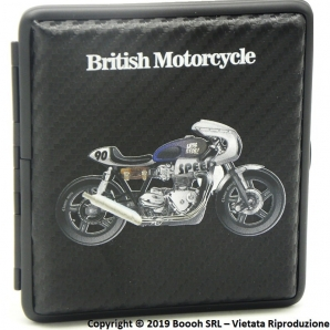 PORTA SIGARETTE IN METALLO BRITISH MOTORCYCLE BIANCA E BLU N.90 E SUPERFICIE CARBON LOOK - IDEA REGALO PER FUMATORI 12,47 €