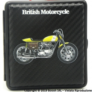 PORTA SIGARETTE IN METALLO BRITISH YELLOW SCRAMBLER MOTORCYCLE E SUPERFICIE CARBON LOOK - IDEA REGALO PER FUMATORI 12,47 €