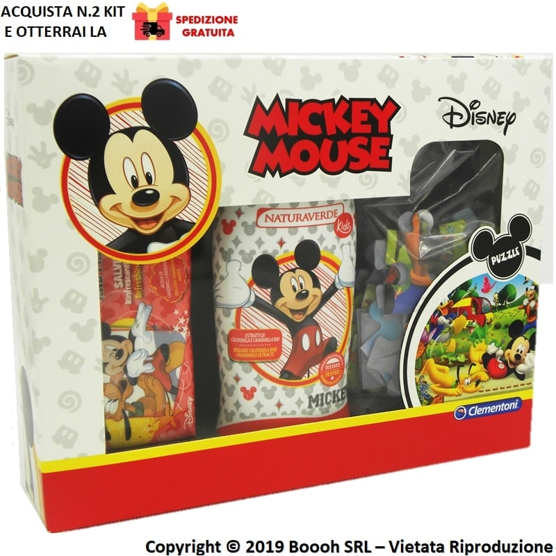 MICKEY MOUSE COFANETTO REGALO DISNEY TOPOLINO - GEL DOCCIA 250ml + SALVIETTE + PUZZLE | NATURA VERDE KIDS 11,99€