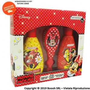 MINNIE MOUSE COFANETTO REGALO DISNEY - SHAMPOO + BAGNOSCHIUMA + SPAZZOLA PER CAPELLI | NATURA VERDE KIDS 11,79 €