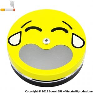 POSACENERE TASCABILE SMILEY GIALLO EMOJI MANGIA FUMO IN ALLUMINIO CIRCOLARE - APERTURA A SCOMPARSA 2,99€