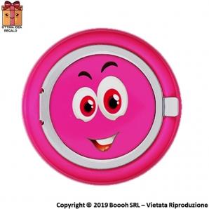 POSACENERE TASCABILE EMOJI GIRL PINK SMILE - MANGIA FUMO IN ALLUMINIO CIRCOLARE | APERTURA A SCOMPARSA 3,99€