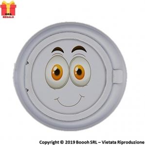 POSACENERE TASCABILE EMOJI BOY SILVER SMILE - MANGIA FUMO IN ALLUMINIO CIRCOLARE | APERTURA A SCOMPARSA 3,99€