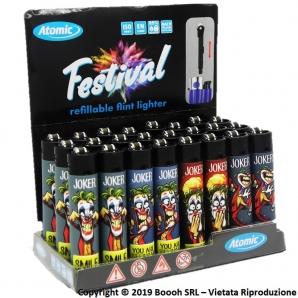 ATOMIC FESTIVAL JOKER DC COMICS ACCENDINI LARGE RICARICABILI CON FIAMMA REGOLABILE - BOX DA 24 ACCENDINI 11,99€