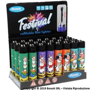 ATOMIC FESTIVAL LAMA ACCENDINI LARGE RICARICABILI - BOX DA 24 ACCENDINI CON FIAMMA REGOLABILE 11,99€