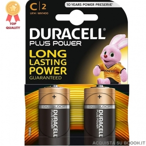 DURACELL PLUS POWER ALCALINE MEZZA 1/2 TORCIA C - BLISTER DA 2 BATTERIE 3,69 €