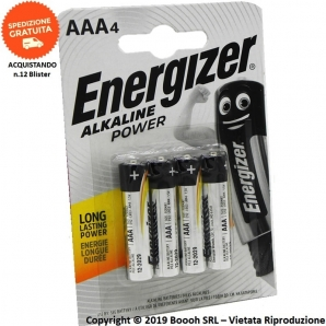 ENERGIZER BATTERIE AAA MINI STILO LR03 ALKALINE LONG LASTING POWER - BLISTER DA 4 PILE 2,74 €