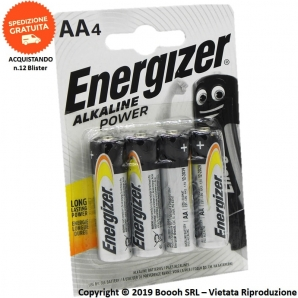 ENERGIZER BATTERIE AA STILO LR6 ALKALINE LONG LASTING POWER - BLISTER DA 4 PILE 2,86 €