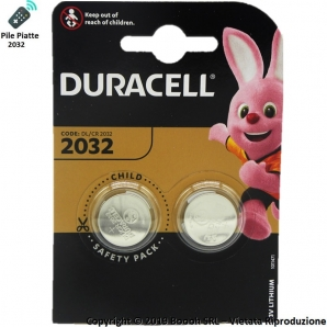 DURACELL PILE DL 2032 BATTERIE LITIO 3V - BLISTER 2 BATTERIE A BOTTONE 2,29 €