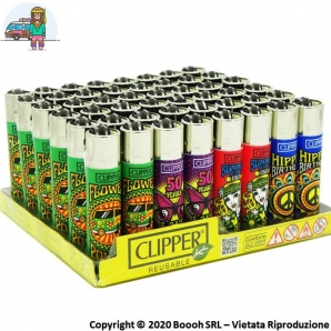 ACCENDINI CLIPPER LARGE HIPPIE FUN - BOX DA 48 PEZZI RICARICABILI 45,99 €