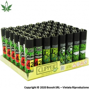 ACCENDINI CLIPPER GIRL WEED 420 - BOX DA 48 PEZZI RICARICABILI 45,99€