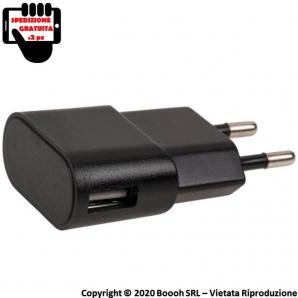ADATTARORE USB NERO CARICABATTERIE PRESA DA MURO - 1 PORTA USB | SPEDIZIONE GRATUITA 12,49€