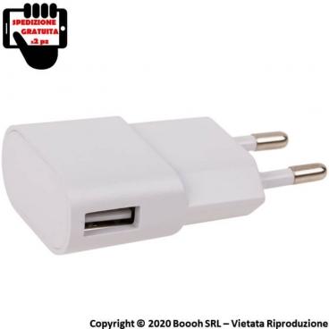 ADATTARORE USB BIANCO CARICABATTERIE PRESA DA MURO - 1 PORTA USB | SPEDIZIONE GRATUITA