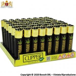 ACCENDINI CLIPPER AMSTERDAM GOLD EDITION CANNABIS LEAF - COLLEZIONE OLANDESE | BOX DA 48 PEZZI RICARICABILI 45,99€