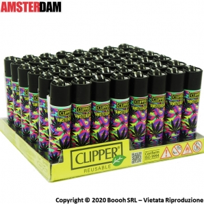 ACCENDINI CLIPPER PURPLE WEED LEAF AMSTERDAM EDITIONE - COLLEZIONE OLANDESE | BOX DA 48 PEZZI RICARICABILI 45,99€