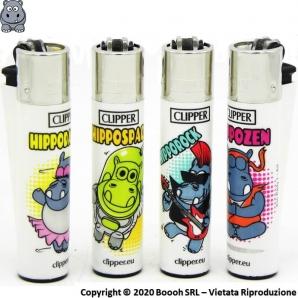 ACCENDINI CLIPPER LARGE HIPPO ZOO PARTY - SERIE COMPLETA DA 4 ACCENDINI LARGE GRANDI RICARICABILI 7,32€