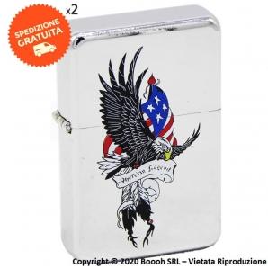 ACCENDINO A BENZINA TIPO ZIPPO FANTASIA AMERICAN EAGLE FLY LEGEND | IDEA REGALO FUMATORE 10,99€