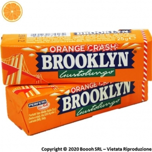 BROOKLYN ORANGE CRASH CHEWING GUM IN LASTRINE AL GUSTO DI ARANCIA - STICK SFUSI 0,99 €