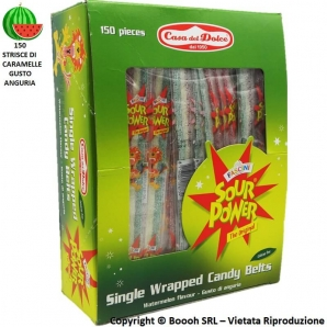 FASCINI CARAMALLE ANGURIA SOUR POWER STRISCIA WATERMELON COLOR TRICOLORE - CONFEZIONE DA 150 CINTURE BLISTERATE SINGOLARMENTE