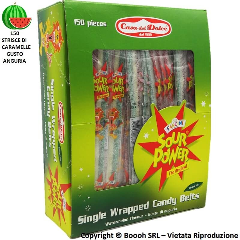 FASCINI CARAMALLE ANGURIA SOUR POWER STRISCIA WATERMELON COLOR TRICOLORE - CONFEZIONE DA 150 CINTURE BLISTERATE SINGOLARMENTE...