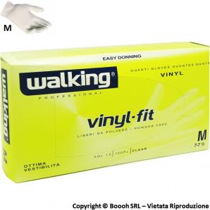 GUANTI VINILE WALKING ANALLERGICI TAGLIA MEDIA M - DISPOSITIVO MEDICO NON STERILE | CONFEZIONE DA 100 PEZZI 5,99€