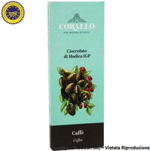 CIOCCOLATO DI MODICA IGP AL CAFFE' - TAVOLETTA DA 50gr CACAO - CORALLO FINE DOLCERIA SICILIANA 2,49€