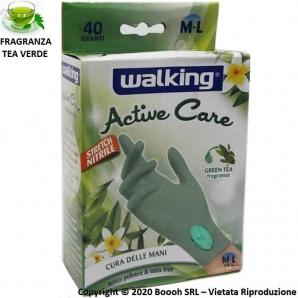 GUANTI IN NITRILE USA E GETTA - WALKING ACTIV CARE FRAGRANZA TEA VERDE E MISURA M/L - CONFEZIONE DA 40 PEZZI 4,99€