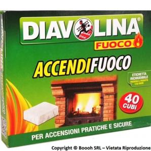 DIAVOLINA ACCENDIFUOCO ACCENDIGRILL BBQ STUFE CAMINETTI - CONFEZIONE DA 40 CUBI BIANCHI PER ACCENSIONI RAPIDE E SICURE 2,49€