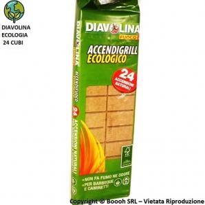 DIAVOLINA ACCENDIGRILL ECOLOGICO 100% NATURALE BBQ STUFE CAMINETTI - 1 TAVOLETTA DA 24 CUBETTI PER ACCENSIONI 1,99€
