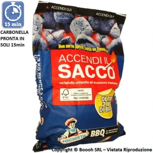FOCHISTA BBQ ACCENDI IL SACCO BARBECUE - SACCO DA 1,3 KG RENDE 2 KG PER OLTRE DUE ORE DI BRACE 7,99€