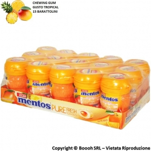 MENTOS PURE FRESH TROPICAL NANO BOTTLE CHEWING GUM GUSTO PAPAYA ARANCIA ANANAS - BOX DA 15 BARATTOLINI 16,48 €