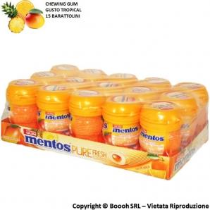 MENTOS PURE FRESH TROPICAL NANO BOTTLE CHEWING GUM GUSTO PAPAYA ARANCIA ANANAS - BOX DA 15 BARATTOLINI 16,48€