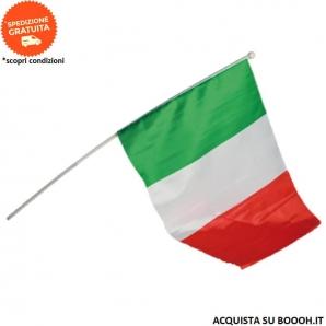 BANDIERA ITALIANA TRICOLORE 30x45cm CON ASTA DI PLASTICA DA 60cm - CONFEZIONE DA 1 BANDIERA 1,99€