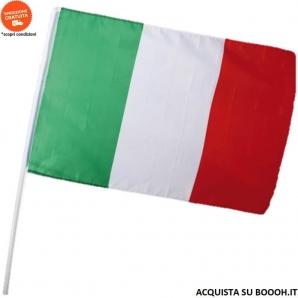 BANDIERA ITALIANA TRICOLORE 60x90cm CON ASTA DI PLASTICA DA 100cm - CONFEZIONE DA 1 BANDIERA IDEALE PER ESTERNI 8,74€