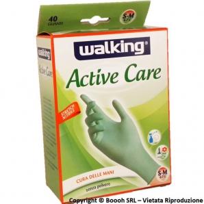 WALKING ACTIV CARE GUANTI IN NITRILE SENZA POLVERE - MISURA S/M | CONFEZIONE DA 40 PEZZI VERDI USA E GETTA 8,74€